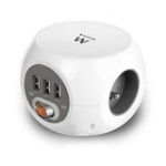 Ewent Power distribution unit with USB ports, 3 sockets type E, 1.5m, white